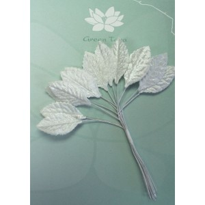 Green Tara - Velvet Leaves 3cm White
