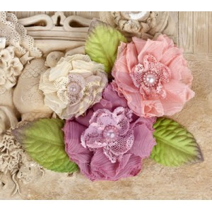 Prima Marketing - Paquita - Dawn fabric flowers with matching leaves